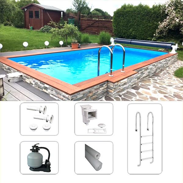 Thermo Schwimmbeckenset Saint-Tropez 7,00 x 4,00 x 1,50m inkl. Bodenisolierung