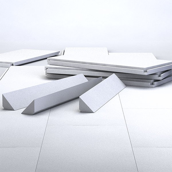 Bodenisolierung für Rundpool 4,60m aus Hakenfalzplatten inkl. Hohlkehle-Porozellecken und Kleber