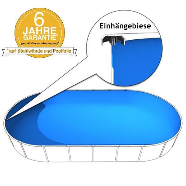 Poolinnenfolie oval 7,00 x 3,50 x 1,20m in 0,6mm mit Biese