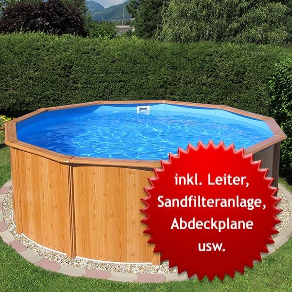 Stahlwandbecken-Set Gigazon-Woodstyle light 3,60 x 1,20m mit 15cm breitem Handlauf