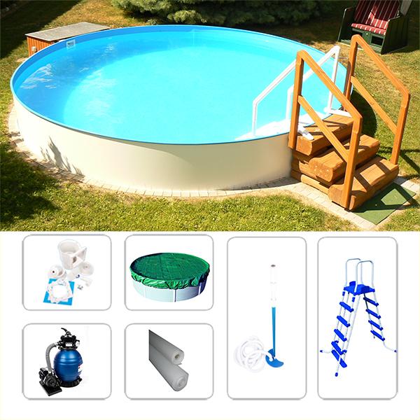 rundpool set swimmingpool visionzon 3 00 x 1 20m inkl. Black Bedroom Furniture Sets. Home Design Ideas