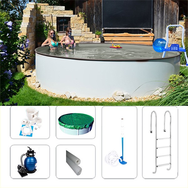 Gartenpool-Set Fun-Zon gray 6,00 x 1,50m