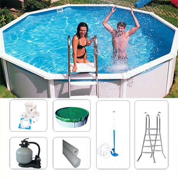 Rundpool-Set Schwimmbecken Megazon 3,60 x 1,32m inkl. Zubehör